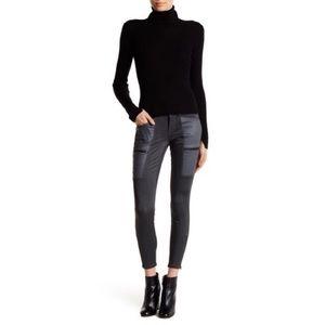 Level 99 • Mila Faux Leather Trim Skinny Jeans